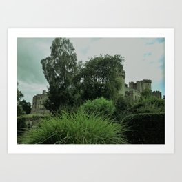 Warwick Castle Bathed in Green Light Art Print