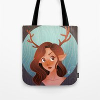 fawn Tote Bags featuring Fawn by Lauren Draghetti