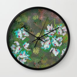 Pastel Orchids design Wall Clock