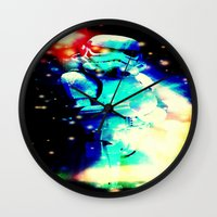 storm trooper Wall Clocks featuring STORM TROOPER by shannon's art space