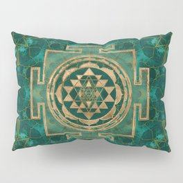 Sri Yantra  / Sri Chakra Malachite and gold Pillow Sham