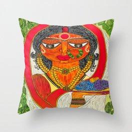 East Indian Bengali Bride Throw Pillow