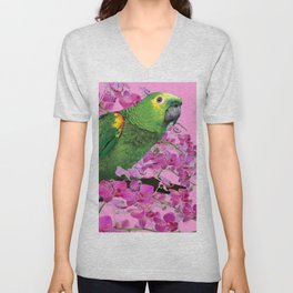 PINK TROPICAL GREEN PARROT & FUCHSIA ORCHIDS  ART Unisex V-Neck