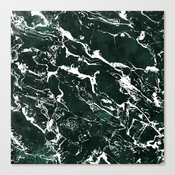 Dark green forest watercolor white marble christmas pattern canvas print