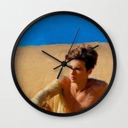 Boy in Golden Field Wall Clock