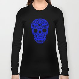 blue and white skull.. where white is will be transparent on shirts Long Sleeve T-shirt