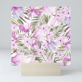 Aurora pink lavender green watercolor tropical floral Mini Art Print