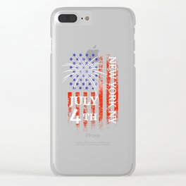 New York City 4th of July Independence Day Clear iPhone Case