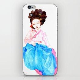 Watercolor Korean beauty - Pink&Blue iPhone Skin