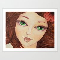 Green eyed girl Art Print