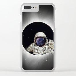 Black Hole Astronaut Clear iPhone Case