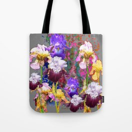 Decorative Spring Grey Iris Yellow & Pink Garden Tote Bag