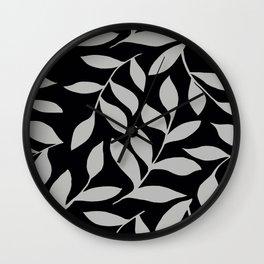 GRAY LEAVES BOUNTIFUL Gray and Black Fashion Wall Clock