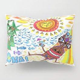 Mid Century Modern Hawaiian Tiki Toast blue border Pillow Sham