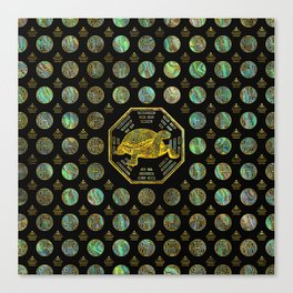 Golden Tortoise / Turtle Feng Shui Abalone Shell Canvas Print