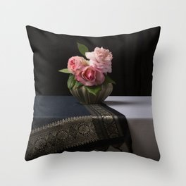 Roses and silk still life Throw Pillow