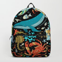 Underwater animals and plants pattern Backpack