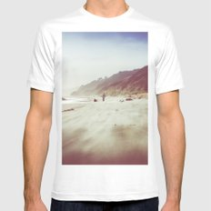 Ocean Beach Walk - Blue Sea and Sky in Oregon MEDIUM White Mens Fitted Tee