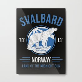Svalbard Arctic Polar Bear - Midnight Sun in Longyearbyen Norway Metal Print