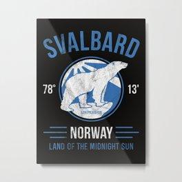 Svalbard Arctic Polar Bear - Midnight Sun in Longyearbyen Norway Metal Print
