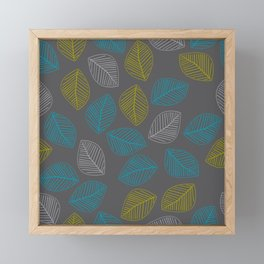 Mid Century Modern Falling Leaves Turquoise Chartreuse Gray Framed Mini Art Print