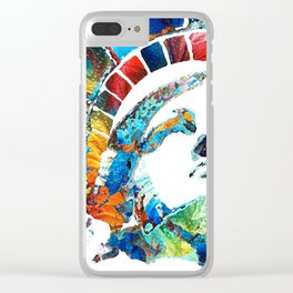 Colorful Statue Of Liberty - Sharon Cummings Clear iPhone Case
