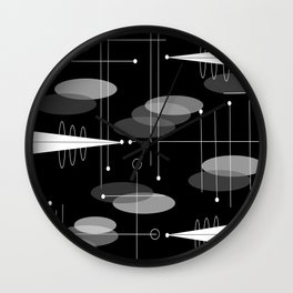 Atomic Space Age Black Wall Clock