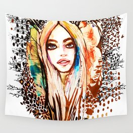 Butterfly Girl Wall Tapestry