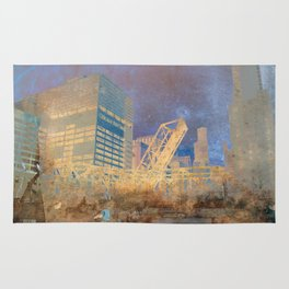Drawbridge Chicago River City Skyline Rug