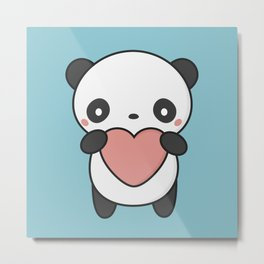 Kawaii Cute Panda With A Heart Metal Print