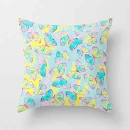 BUTTERFLIES YELLOW Throw Pillow