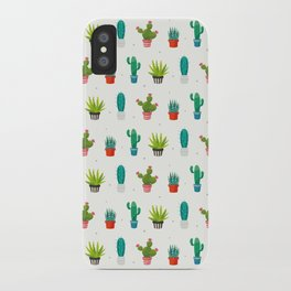 Colorful cactus succulent plant flower nature pattern iPhone Case