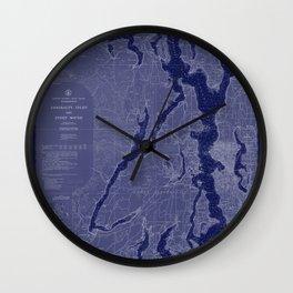 Puget Sound Washington State Nautical Chart Map Print 1956 Dark Blue, Map Art Prints Wall Clock