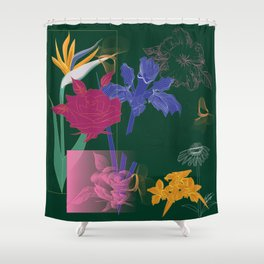 Dark Fall Flower Pattern for Home Goods Emerald Green Magenta Shower Curtain