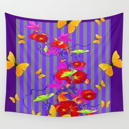 GOLDEN BUTTERFLIES &  RED FLOWER GARDEN Wall Tapestry