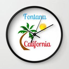 Fontana California Palm Tree and Sun Wall Clock