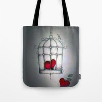 cage Tote Bags featuring cage by Maria Sciarnamei