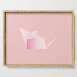Paper folded, origami pink mouse or rat design Serving Tray