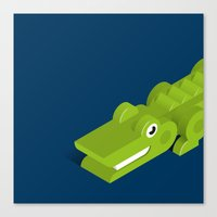 crocodile Canvas Prints featuring Crocodile by Mezoozoo