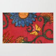 Batik butterflies and flowers on red Rug