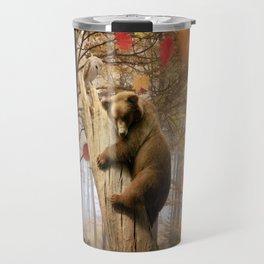 Brown bear climbing on tree Travel Mug