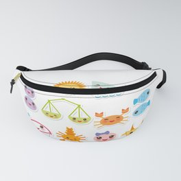 Funny Kawaii zodiac sign, astrological stiker virgo, aries, gemini, cancer, aquarius, taurus,  leo Fanny Pack