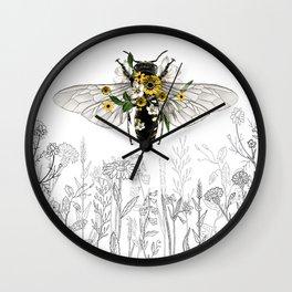 Honey Bee, Honey Bee Flowers, Black White Bee, Bee Floral Wall Clock