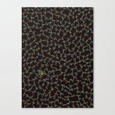 Blue/Green Dots in Black Design Canvas Print