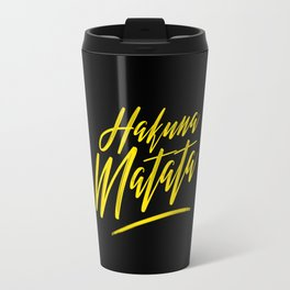 Hakuna Matata (Yellow on Black) Travel Mug