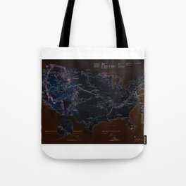 National Parks Trail Map Dark Neon Tote Bag