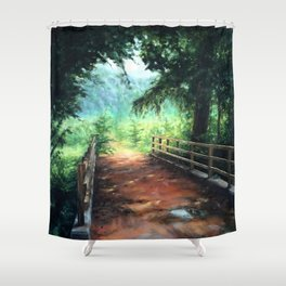 Landscape of nature with a wooden bridge Shower Curtain