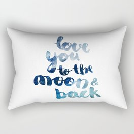 "ROYAL BLUE ""LOVE YOU TO THE MOON AND BACK"" QUOTE Rectangular Pillow"