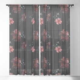 Moody Watercolor Botanical Pattern Sheer Curtain