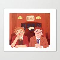 bar Canvas Prints featuring bar by Lauren Steele